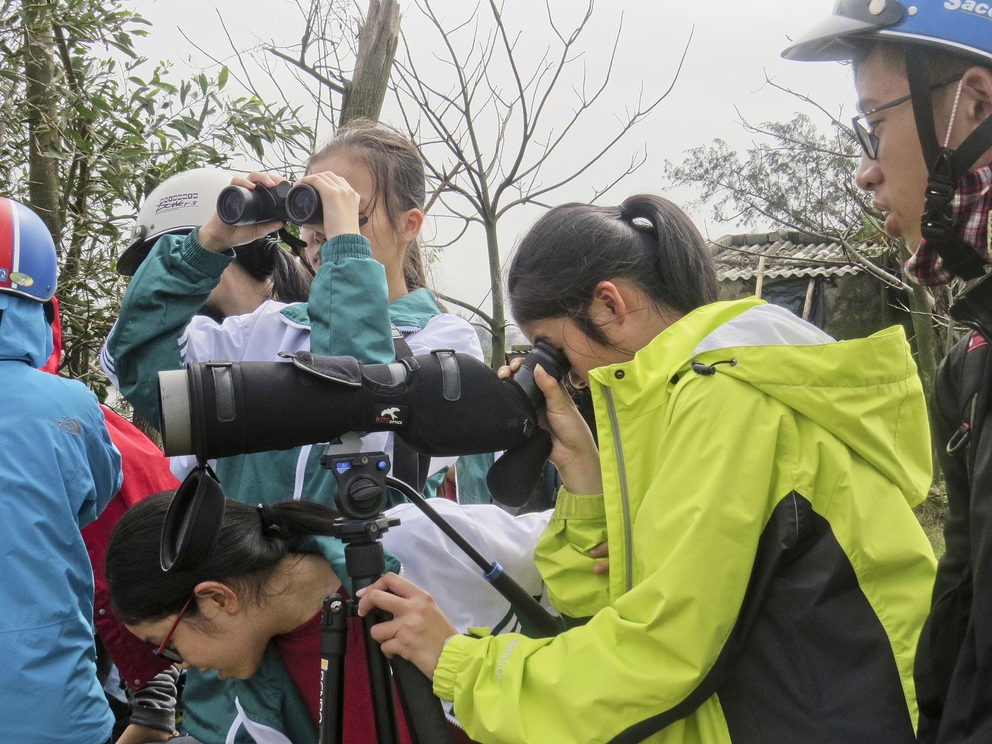 Bird watching with school students
